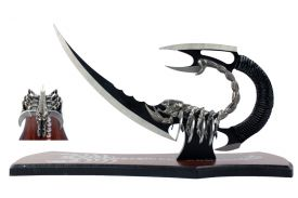 "15"" Scorpion Knife Multi-Bladed With Wooden Display Stand"