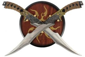 "9"" Dual Daggers With Wooden Circle Wall Plaque"