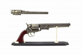 "11"" Replica Brass Revolver w/ Display Stand"