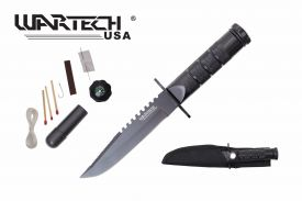 8-inch overall black survival knife w  Survial Kit