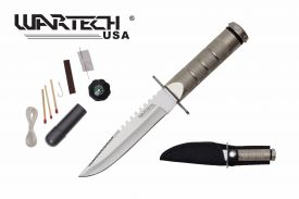 8-inch overall chrome survival knife w  Survial Kit