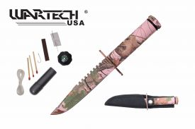 8-inch overall red camo survival knife w  Survial Kit