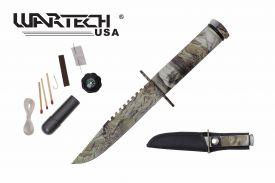 8-inch overall real tree camo survival knife w  Survial Kit