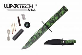 8-inch overall green skull survival knife w  Survial Kit