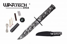 8-inch overall grey skull survival knife w  Survial Kit