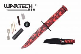 8-inch overall red skull survival knife w  Survial Kit