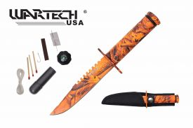 8-inch overall yellow camo survival knife w  Survial Kit
