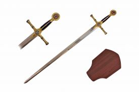 38-inch Blue Mason G Sword w  Wooden Plaque