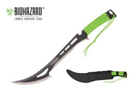 23-inch Length, Stainless Steel Blade, Green Paracord Wrapped Handle, Nylon Sheath