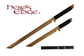 27-inch   18-inch 440 Stainlees Steel Gold Blade Sword w  Sheath