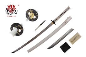 41-inch 1045 Carbon Steel w  Groove White Scabbard. Including: 8-inch Tanto Blade Knife, Sword bag, and Cert