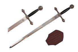EXCALIBUR MEDIEVAL CRUSADER SWORD   PLAQUE 43-inch