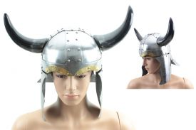 16-inch Horned viking helmet. Made of 18 guage polished steel