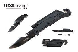 "Wartech 8.5"" Spring Assisted 5 in 1 Pocket Knife (Black)"
