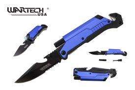 "Wartech 8.5"" Spring Assisted 5 in 1 Pocket Knife (Blue)"