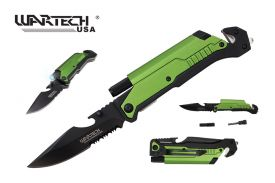 """Wartech 8.5"""" Spring Assisted 5 in 1 Pocket Knife (Green)"""