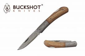 """7"""" Folding Knife w/ 71 Layer Authentic Damascus Blade & Wood Handle"""